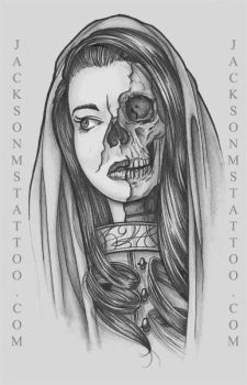 Undead Girl Tattoo design by Justin Jackson, MS by jacksonmstattoo