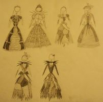 Gowns4thePumpkinQueen Sketches by Akili-Amethyst