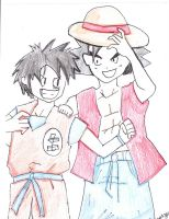 Goku and Luffy Switch Clothes by RavenMangekyo