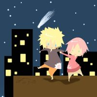 dance in the night: narusaku by shrimpxpuff