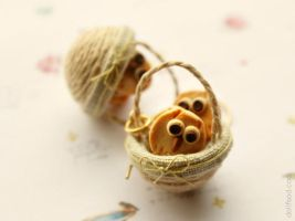 Owl Cookies in a Basket Earrings by allim-lip