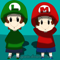 Baby Mario and Baby Luigi by kasanexkagamine