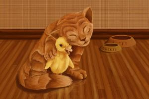 Kitty and Duck by BlackjackConcpiracy