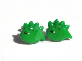 Green Baby Stegosaurus Earrings by mAd-ArIsToCrAt