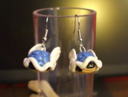 Blue Turtle Shell earrings by Red-Flare