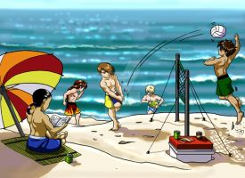Gundam Wing Goes to the Beach by SapphireGamgee