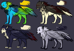 Wolf/bird adoptables! BUY THEM. PP ONLY. by Chocolace