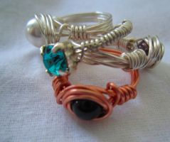 Wire Wrapped Rings by Kaitou16