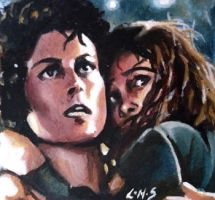 Ripley and Newt ACEO by sullen-skrewt