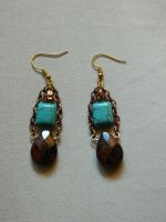Copper and Turquoise Earrings by DOC-Ash1391