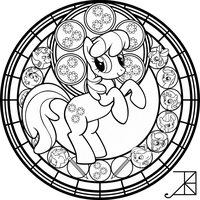 Cheerilee Stained Glass -line art- by Akili-Amethyst