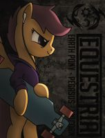 Scootaloo with a longboard by SuperChargedBronie