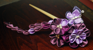 Purple Kanzashi. Butterfly. by hanatsukuri