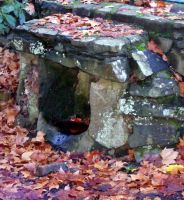 Old Fireplace W Autumn Leaves by Gracies-Stock