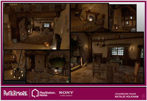 Pottermore PS3 HOME Hogsmeade House by chermilla