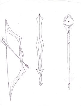 Weapons (Uncolored Ink Test) by Iklaendia