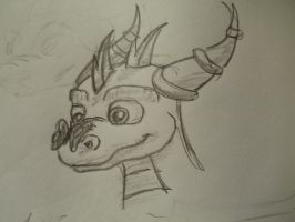 Sketch: Spyro and a buttlerfly by shadowhatesomochao