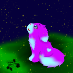 Cute Fluffy Puppy and Fireflies for wellduhh by CuteyCreations