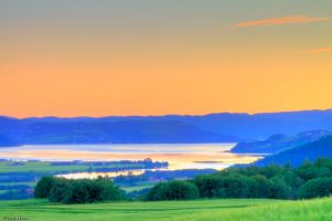 Sunset over the fjord by Orwandil