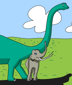 Elephant and sauropod by Maleiva