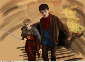 Merlin and Arthur - WIP+5 by jeminabox