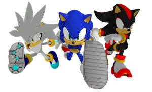 Sonic, Shadow and Silver Racing Render by Silverdahedgehog06