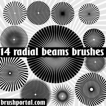 Radial Beams Photoshop Brushes by Brushportal