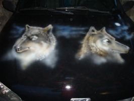 wolves on car airbrush by Namingway-Regret