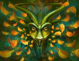 Green Dragon Portrait by Kaeriya