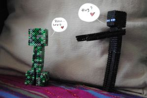 Creeper and Enderman by ChibiFoxen