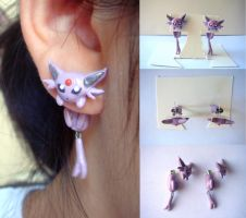 Clinging Espeon Earrings by KittyAzura