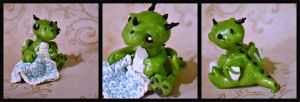 Green Dragon Baby And Polymer Clay Crochet Blanket by GoldenDaffadowndilly