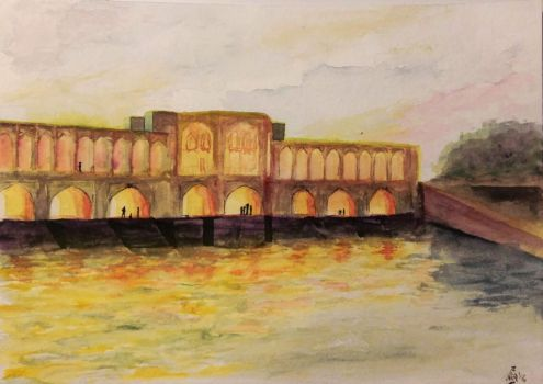 Aquarelle study: Persian bridge by H0lzritter