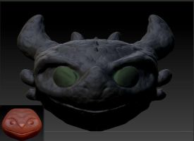 Zbrush: E.T to Toothless Head by Zerox-II