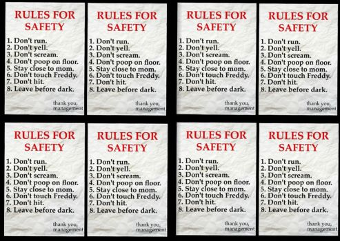 FNaF 1 : RULES FOR SAFETY x 8 by ThunderSolar