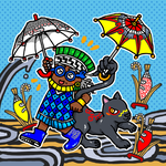 Dancing Tlaloc and the little ahuizotl by nosuku-k