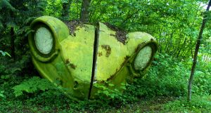 Large Styrofoam Frog In Forest by PamplemousseCeil