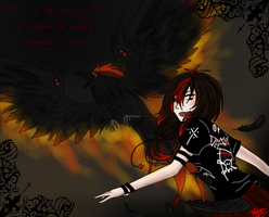 Girl and raven fire by Rej-kun