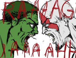 Kratos and The Hulk Screaming by SIRCollection