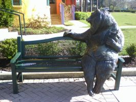 Bear on a Bench by blackmariah27