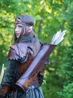elven leather armor back view by Lagueuse