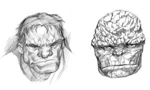 Hulk and Thing Sketch by kidchuckle