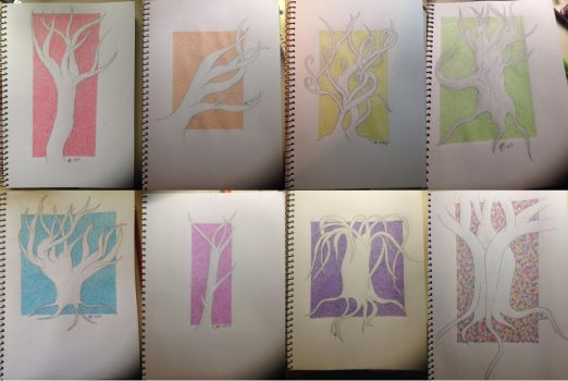 Complete Rainbow Negative Space Tree Series by SilverRabbits