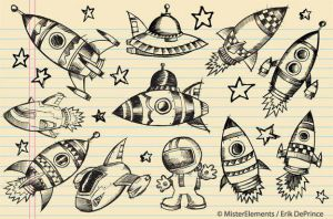 Cute Outer Space Rockets and UFO Sketches by ErikDePrince