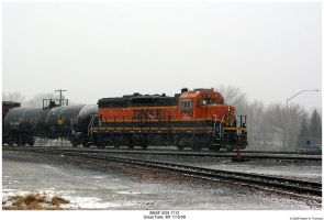 BNSF SD9 1712 in the Snow by hunter1828