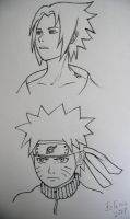 Sasuke and Naruto - pencil by Felina555