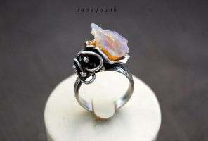 Ring silver sterling with opal 1 by honeypunk