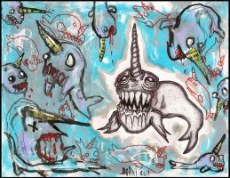 Attack Of The Narwhals by justinaerni