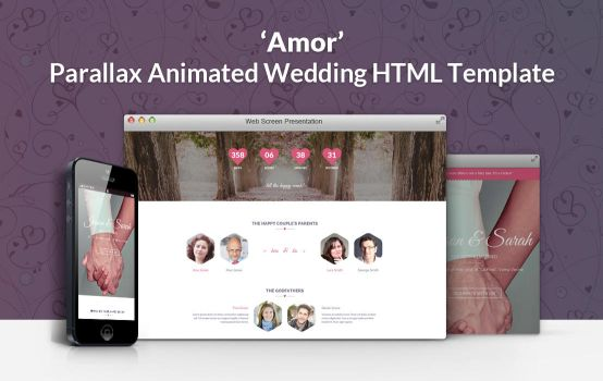 Amor Parallax Animated Wedding HTML Template by gothic-crimson