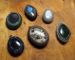 Maille wrapped rocks by SarahTheSlightlyMad